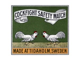 Cockfight Safety Match Swedish Matchbox Label
