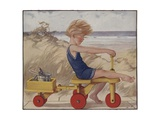Child Near Windy Beach