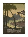 Chemins De Fer  French Travel Poster  Coastal Trips