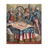 19th-Century Illustration of Uncle Sam Signing a Declaration of Independence