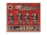 Chinese Matchbox Label with Children Holding a Parade Dragon