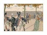 Illustration of Joachim Murat Walking in the Tuileries