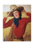 Cowgirl with Rope on Shoulder