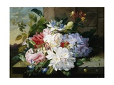 A Pretty Still Life of Roses  Rhododendron  and Passionflowers