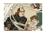 Illustration of a Fireman Rescuing a Woman and Child