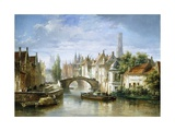 Barges on the Canal in Bruges Giclée par Pierre Justin Ouvrie