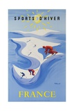 Sports D'Hiver  France  French Travel Poster Winter Sports