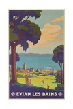 Evian Les Bains  French Plm Railway Gold Poster