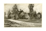 Etching of Longfellow's Wayside Inn in 1845