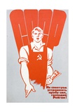 Soviet Worker Clutching a Copy of Pravda and Wearing Hammer and Sickle Dungarees