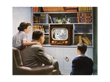 Family Watching Baseball on a New Television