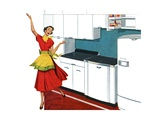 Happy Housewife Dancing in the Kitchen of a 1940s Home
