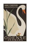 Odense Denmark Travel Poster  Hans Christian Andersen Ugly Duckling
