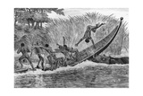 Illustration of Engraged Hippopotamus Upsetting a Boat