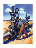 Oil Series: Oil Workers at an Oil Pipeline
