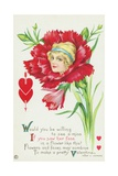 Would You Be Willing to See a Miss If You Saw Her Face in a Flower Like This Postcard