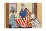 Illustration of Betsy Ross Making the First American Flag