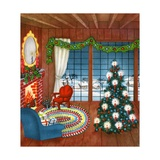 Vintage Illustration of Christmas Tree by Fireplace