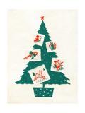 Vintage Illustration of Christmas Tree and Christmas Cards