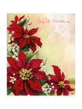 Vintage Illustration of Christmas Poinsettia and Mistletoe