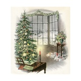 Vintage Illustration of Christmas Tree by a Window