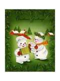 Vintage Illustration of Christmas Snowman Couple