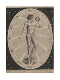 Male Nude Surrounded by Astrological Symbols