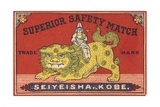 Japanese Matchbox Label with Lion and Woman