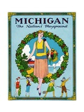 Michigan - the Nation's Playground Travel Poster