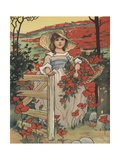Girl Carrying Basket with Red Flowers