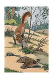 Illustration of a Fox Hunting an Injured Partridge