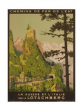 French Railway Travel Poster  Chemin De Fer De L'Est  Switzerland and Italy