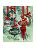 Vintage Illustration of Five Christmas Tree Ornaments