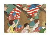 Illustration of Children Marching with Soldiers in a Memorial Day Parade