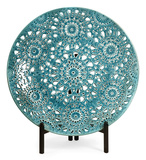 Turquoise Ceramic Floral Charger with Stand