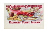 Ye Old Fashioned Clam Bake - Feltmans Coney Island Postcard
