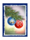 Vintage Illustration of Two Christmas Tree Ornaments