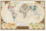World Map Tripel Tableau sur toile