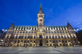 Rathaus (City Hall) Illuminated at Night  Hamburg  Germany  Europe
