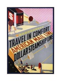 Travel in Comfort  American Mail Line Dollar Steamship Line Poster