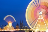 Ferris Wheel Lights at Fair in Cologne at Night