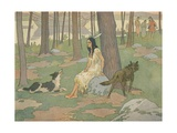 Book Illustration of Pocahontas Waiting in Woods