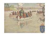 Book Illustration of Rene-Robert Cavelier De La Salle on the Mississippi