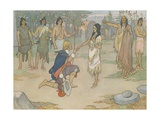 Book Illustration of John Smith Kneeling before Pocahontas