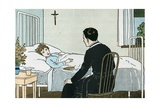 Illustration of a Priest Talking to a Sick Child