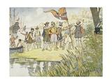 Illustration of Captain John Smith Landing in the New World