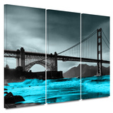 Crashing Waves  Golden Gate Bridge 3 Piece Gallery Wrapped Canvas Set