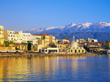 Chania Waterfront and Mountains in Background  Chania  Crete  Greece  Europe