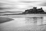 Bamburgh Castle and Beach at Low Tide  Northumberland  Uk