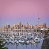 Westhaven Marina and City Skyline Illuminated at Dusk  Waitemata Harbour  Auckland  New Zealand